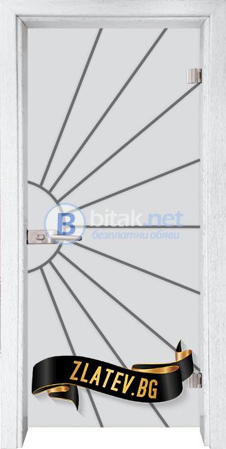 Стъклена интериорна врата Gravur G 13-2 с каса Бреза