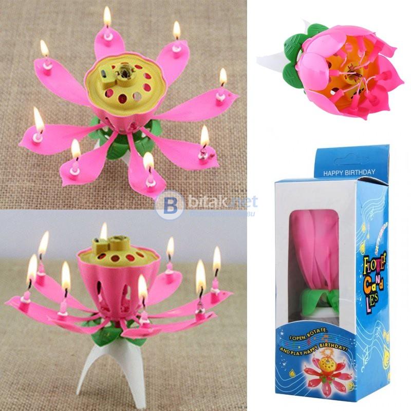 Музикална свещ Лотос въртяща свещ цвете за рожден ден с 8 бр свещички