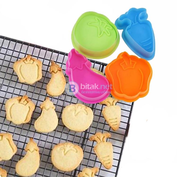 Форми за сладки с бутало и щампа резци за тесто с форма на зеленчуци 4бр/компл.