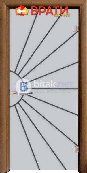 Стъклена интериорна врата, Gravur G 13-2, каса Златен дъб