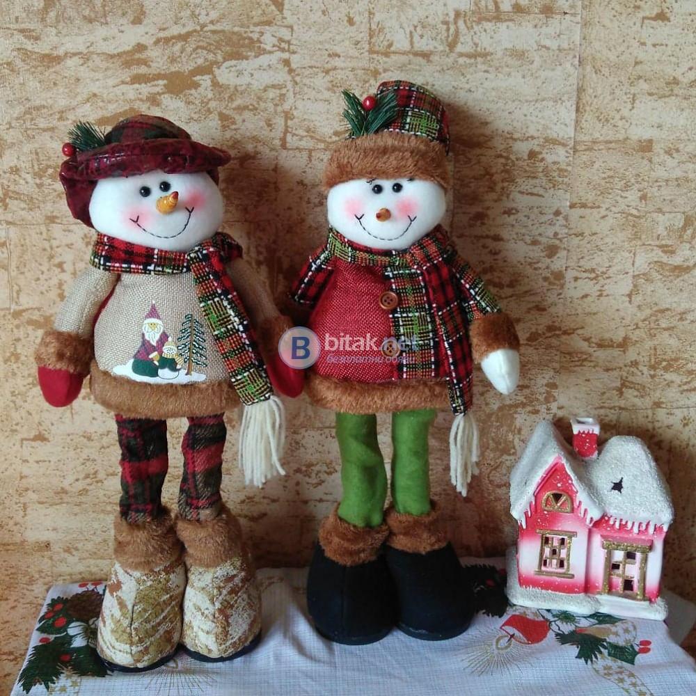 Декоративна коледна фигура от плат Снежко с разтягащи се крака 34-40см