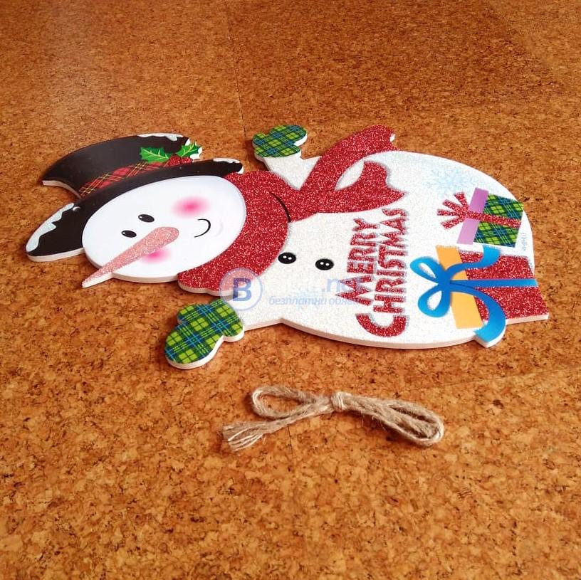 Коледна украса за стена Снежен човек и Дядо Коледа H37см коледни табелки