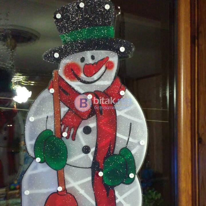 Двулицево светещо пано Снежен човек декорация за стена 43cm 20 лампички