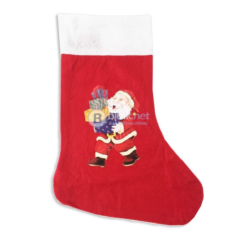 Декоративен коледен чорап с картинка Коледен ботуш коледна торба за подаръци