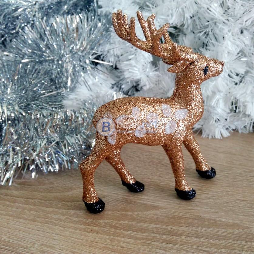 Коледен сувенир брокатено еленче коледна декорация 8х13см