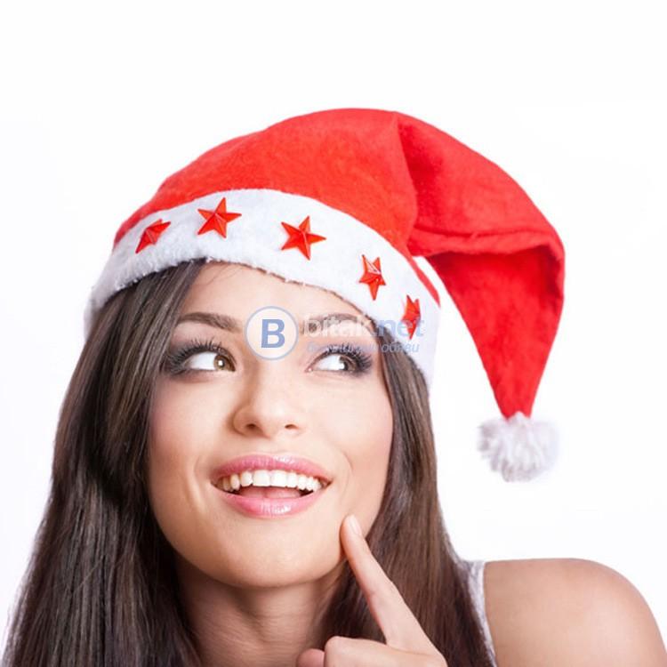 Коледна шапка със светещи звездички светеща парти шапка 37см