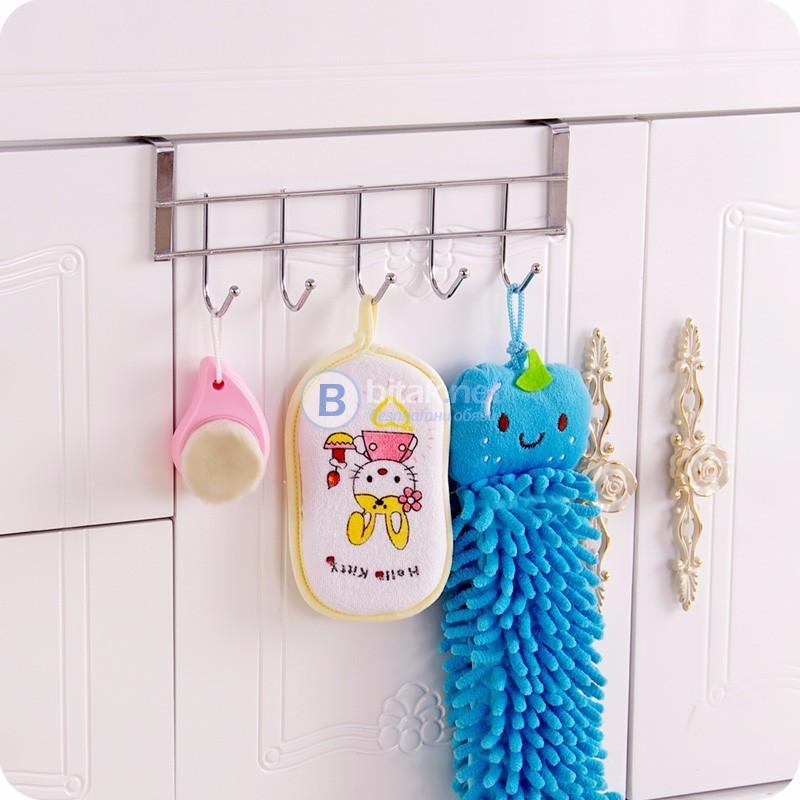 Закачалка за кухненски шкаф с 5 куки за закачане