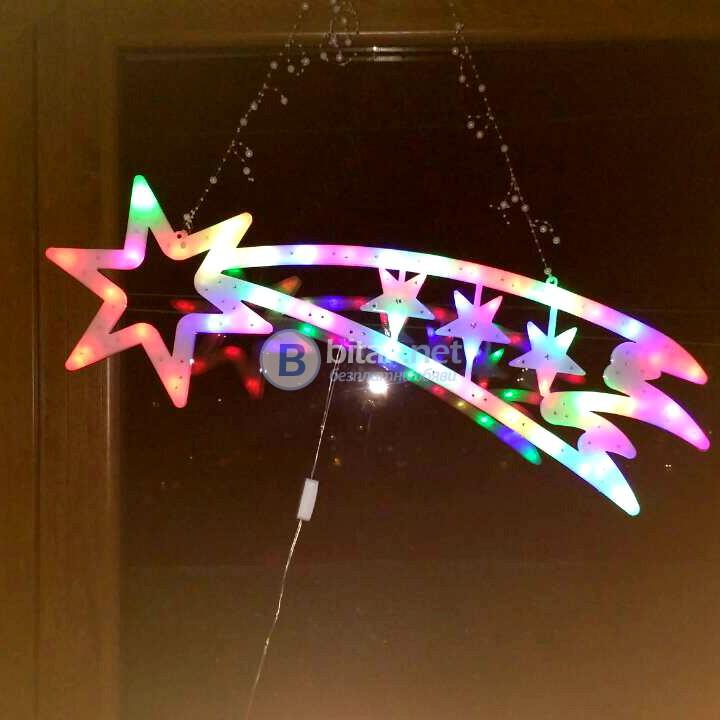 Светеща коледна украса за стена голяма звезда комета 66 LED лампички 75см
