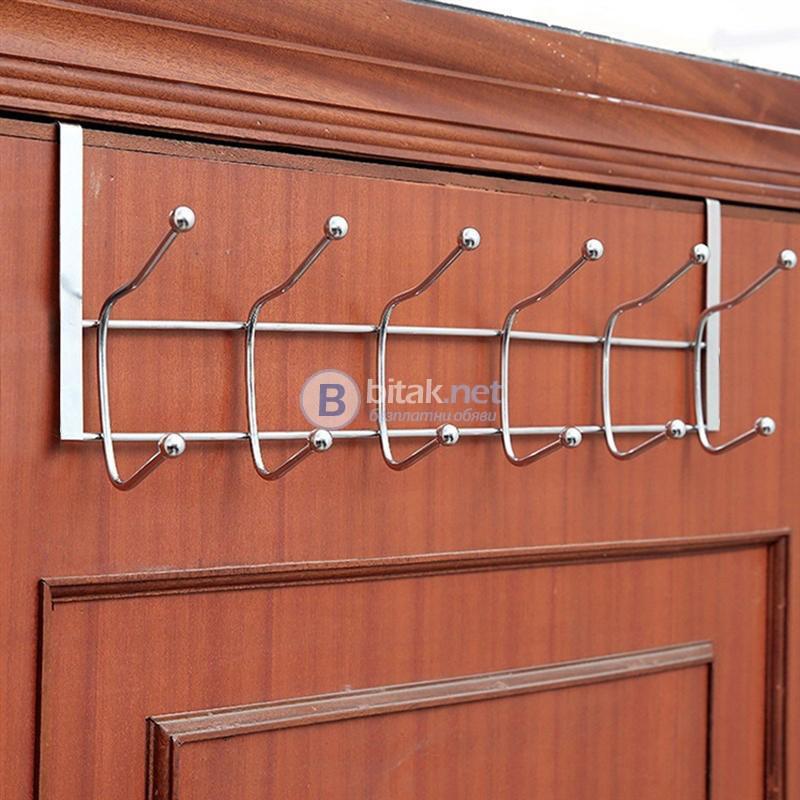 Метална закачалка за врата 12 куки закачалка за дрехи и аксесоари