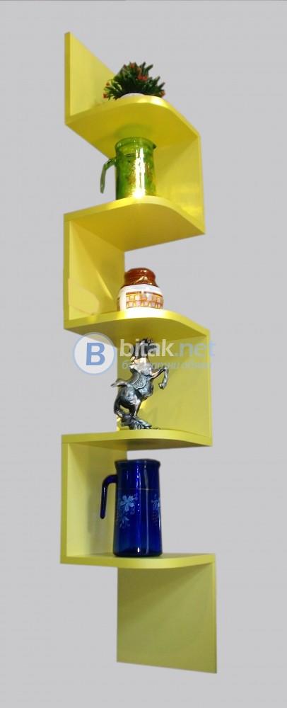 Ъглова етажерка за стена - Жълта