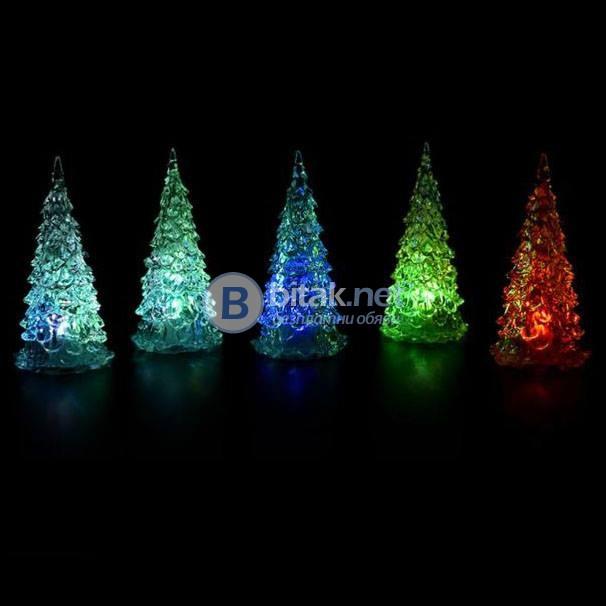 Декоративна светеща коледна елхичка с многоцветни LED светлини 12.5см