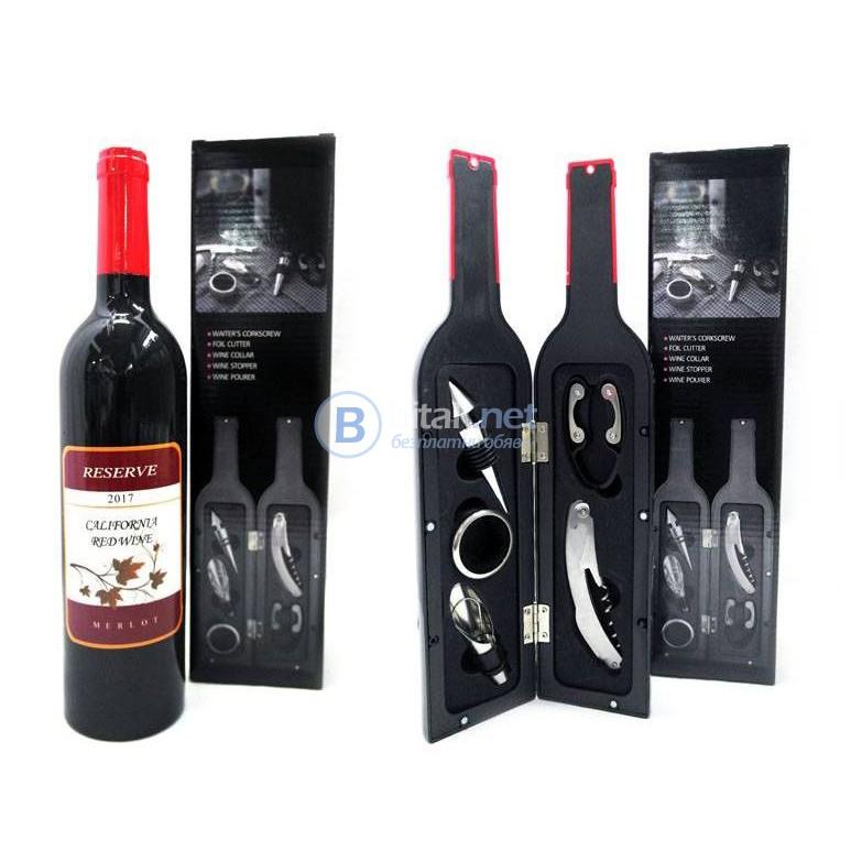 Подаръчен комплект аксесоари за вино в кутия бутилка сет за вино 5 части