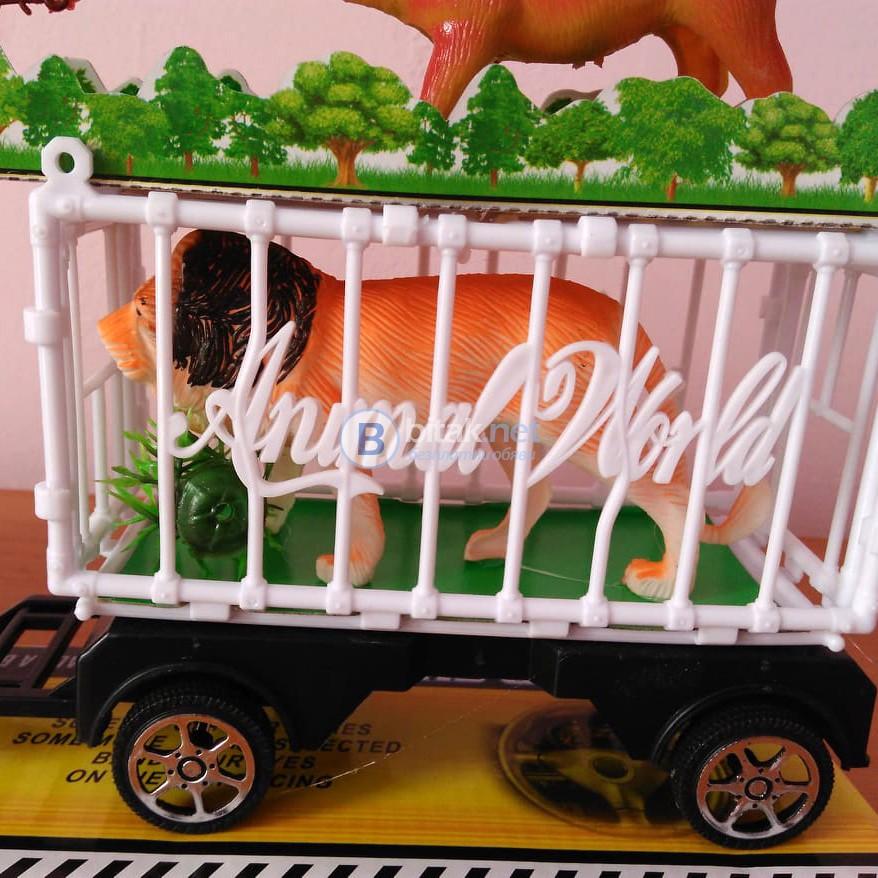Голям детски камион с две клетки и 4 животни 46см играчка за момче