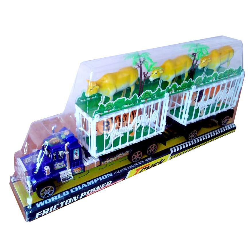 Голям детски камион с две клетки и 5 животни крави тигър лъв 47см