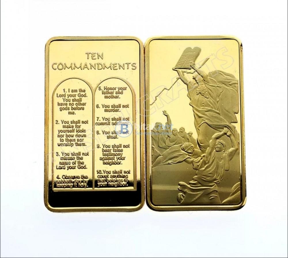 Сувенир десетте божи заповеди позлатен плакет - монета