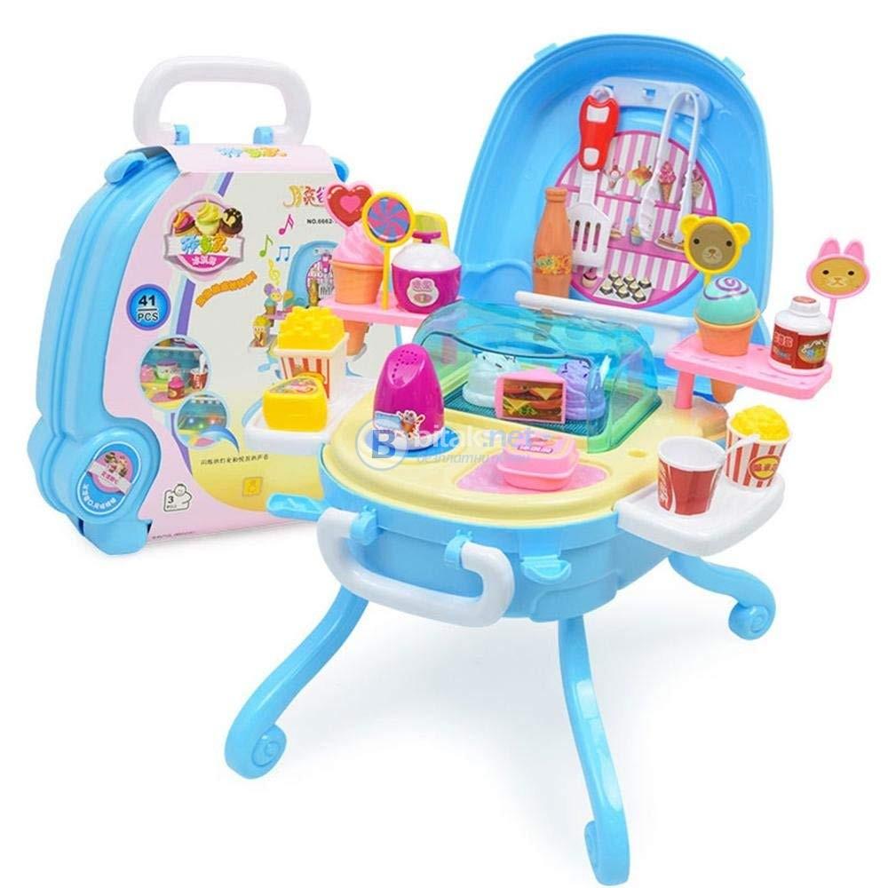 Мини детска кухня в куфар с музика и светлини подарък за момиче