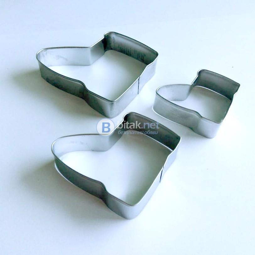 Метални форми за сладки коледни ботушчета комплект резци за тесто кура
