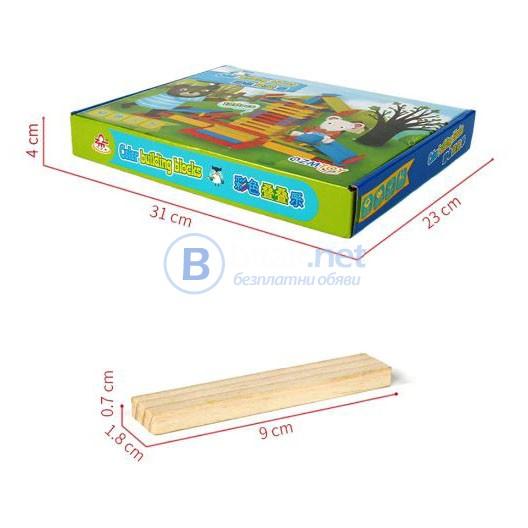 Детски многоцветен дървен конструктор 120 части строителни дървени бло