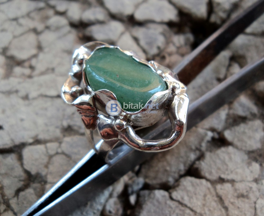 модел 459  Изработен от масивно сребро  Дамски пръстен,с инкрустиран 1 камък авантюрин