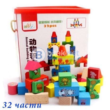 Детски многоцветен дървен конструктор 32 части геометрични фигури с ка