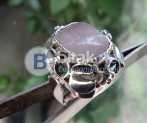 модел 438   Изработен от масивно сребро  Дамси пръстен  с розов кварц