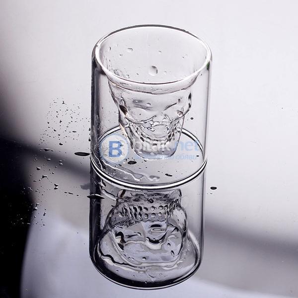 Стъклени шот чаши череп Crystal Skull 4бр в комплект шотове 25мл