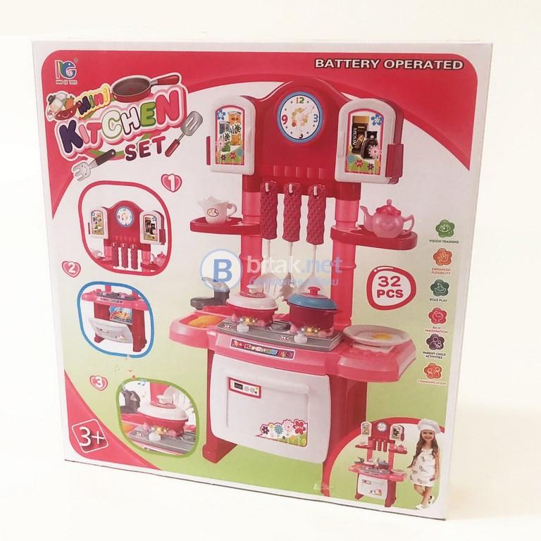 Детска мини кухня със звукови ефекти и светлини 32 части 45см височина