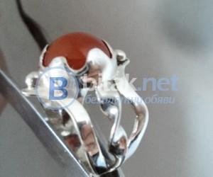модел 416 Изработен от масивно сребро Дамски пръстен,с апликация инкрустиран 1  корнелеон