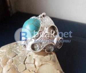 модел 401  Изработени от масивно сребро  Дамски пръстен с тюркоаз
